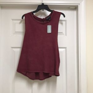 Forever 21 wine sleeveless top with back opening